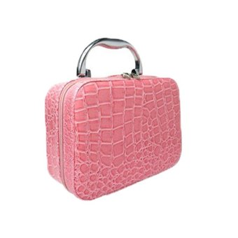 Harga Rorychen Large Space Cosmetic Bag Handbag Leather Professional Make Up Box Stone Pattern(Pink) - intl