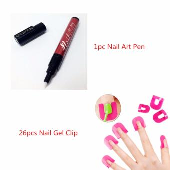 Harga La Vie Nail Art Pen Nail Polish Pen Paint Pen(Crabapple Red)+26pcs Nail Gel Clip
