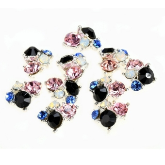 Harga  10 Pcs 3D Nail Alloy Jewelry Tips Decoration Glitter Rhinestone Art Nail Decoration (Black) - Intl - Intl