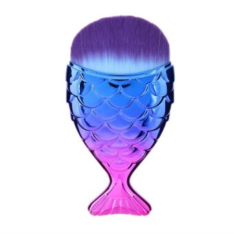 Harga Mermaid Fish Shape Makeup Powder Foundation Blush Contour Brush(Purple) - intl