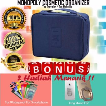 Harga Trend's Monopoly Travel Cosmetic Pouch - Monopoly Cosmetic Organizer - Tas Treveler - Navy Gratis Iring Stand HP & Tas Waterproof