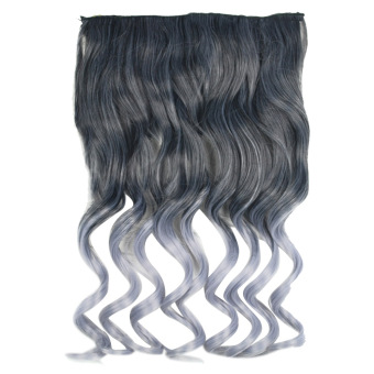 Harga One Piece Synthetic Curly Black to Gray Ombre Hairpiece Clip-on Wig Hair Extension Beauty Tool