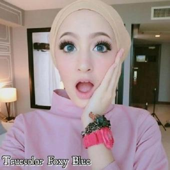 Harga Softlens True Color Foxy Contact Lens - Blue+ Free Lenscase