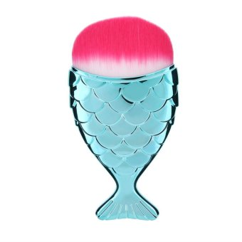 Harga Mermaid Fish Shape Makeup Powder Foundation Blush Contour Brush(Blue) - intl