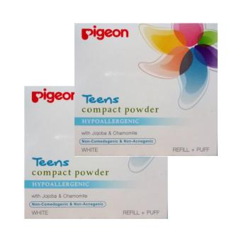 Pigeon Teens Compact Powder White Refill+Puff 20g 2pcs