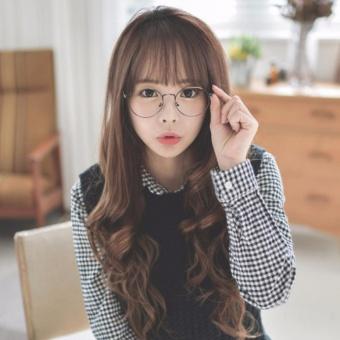 Korea Tahan Panas Renda Depan Wig Glueless Sintetis Alami Sepenuhnya Rambut Panjang Seksi Rambut Keriting Rambut