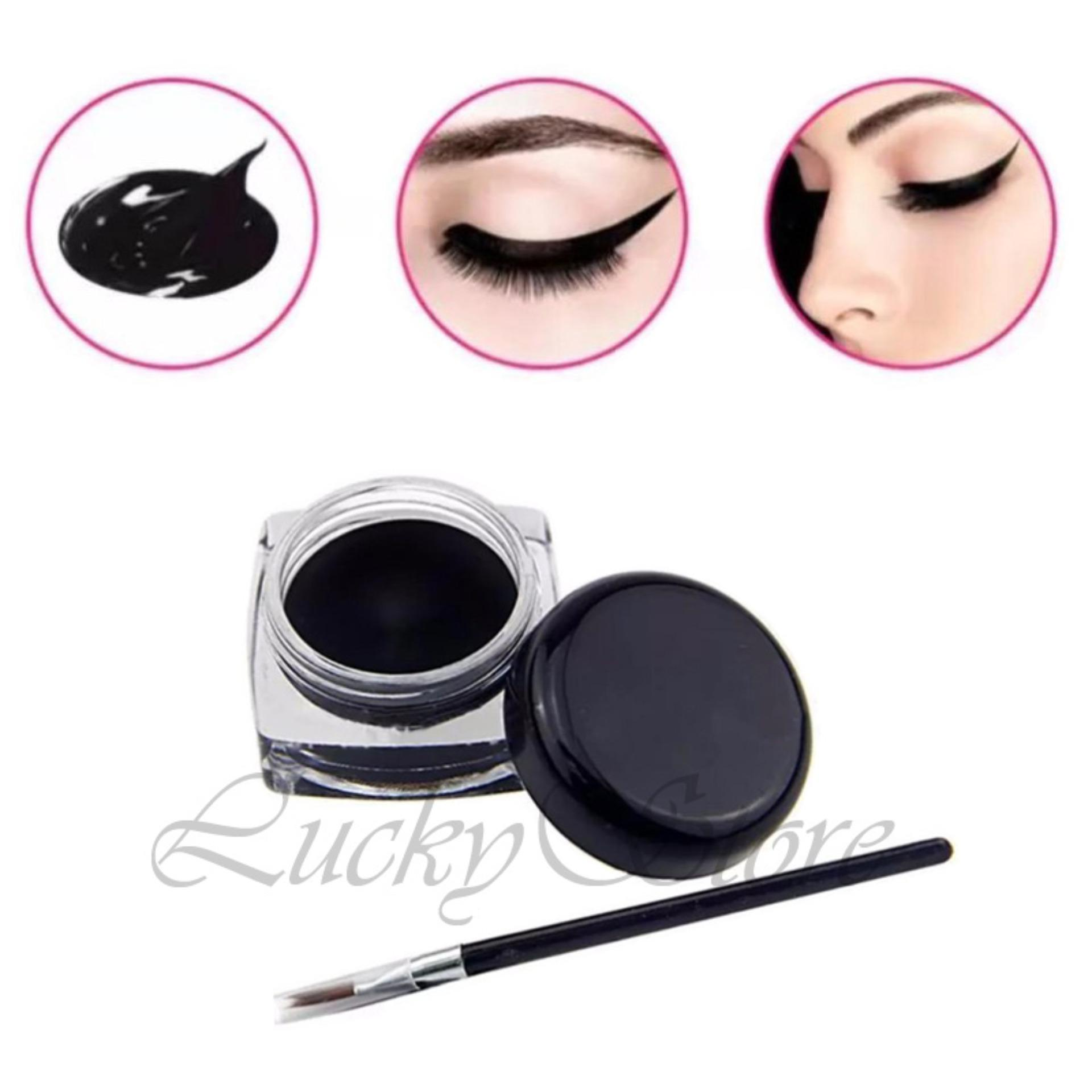 Flash Sale Lucky Eyeliner Gel Black + Gratis Aplicator Kuas - 1 Pcs
