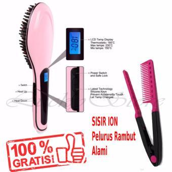 Harga Lucky – Fast Hair Catok Sisir Pelurus Rambut HQT-906 + Gratis Sisir Ion Pelurus Rambut Alami – 1 Pcs Murah