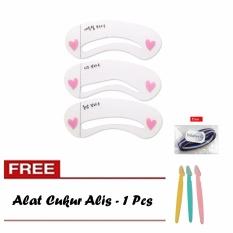 Lucky - Mini Cetakan Alis Brow Class - 3 pcs & Cukuran Alis + Free Ikat Rambut Polkadope - 1 Pcs