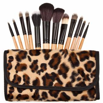 Montana Professional Make Up Brush Set 12pcs Kuas Make Up Aplikator Cosmetic Brush With Leopard Case