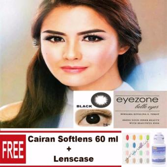 Mwalk Eyezone Belle Eyes Softlens - Black Free Lenscase + Cairan 60ml