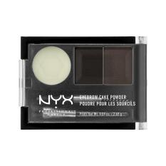 NYX Professional Makeup Eyebrow Cake Powder Black/Gray - Bedak Alis Dua Warna dengan Wax