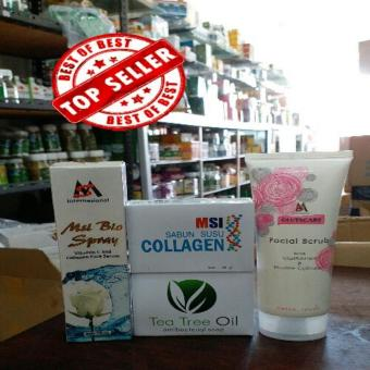 PAKET MSI #MSI FACIAL SCRUB +MSI BIOSPRAY +SABUN COLLAGEN+SABUN TEA TREE OIL ORIGINAL MSI