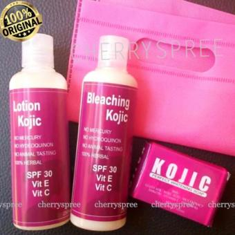 Paket Set Kojic Original Whitening Body Pemutih Badan Lotion Day Night Sabun SPF30 Asli Efektif Memutihkan Kulit Badan Tubuh - Set of 3