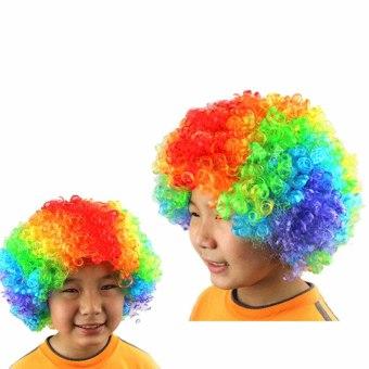 Harga Pendek keriting Afro baru penuh renda pesta badut Wig penggemarsepak bola kostum Halloween menggulung rambut Wig palsu berwarna Murah