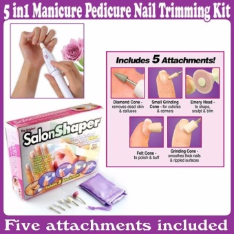 Salon Shaper Electric Nail Manicure Pedicure Device / AlatPerawatan Kuku - Manicure Portable Set 5 in 1 Elektrik - AlatPembantu Kebersihan Putih