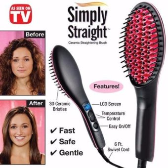Harga Simply Straight Ceramic Straightening Brush Hair Straightener -intl Murah
