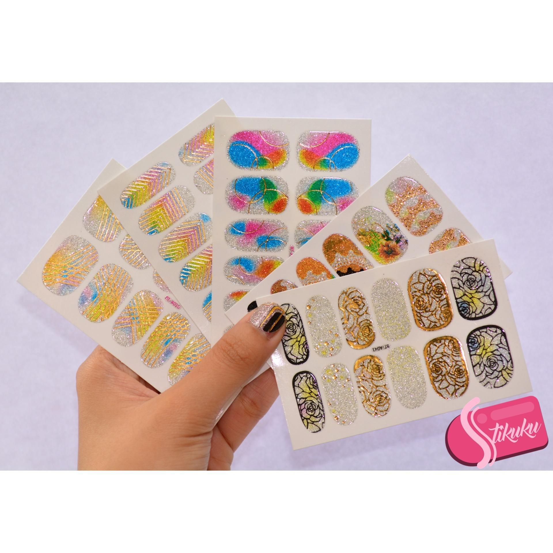 Stikuku Nail Sticker 3d Gliter Free Kikir Pembersih Kuku Spec Kw023 Amplas Cantik Versi Korea Buffer Atau Polished