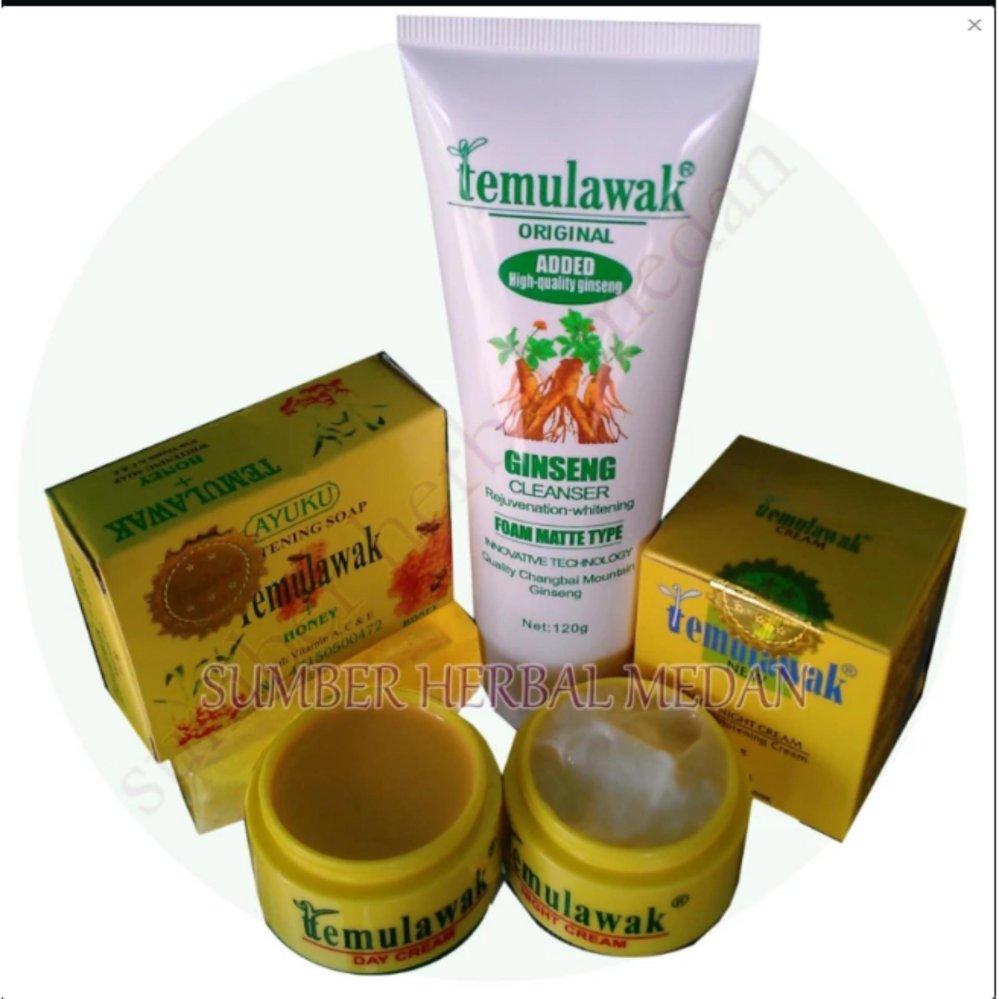 Shock Price Temulawak Original Hologram Paket Sabun & Cream Siang Malam .Cleanser temulawak Gingseng -