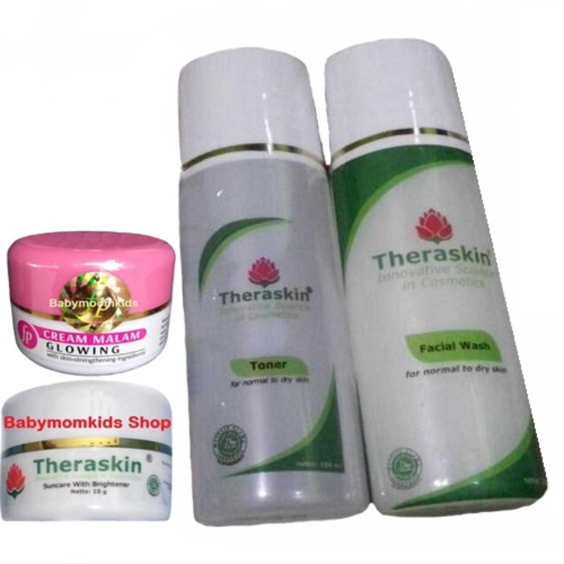 Harga Termurah Theraskin Paket Glowing Kulit Normal 1 Set 4pcs Suncare Original Untuk Cream Malam Siang Facial Wash