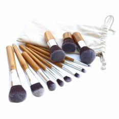 Vienna Linz Kuas Make Up Cosmetic Brush Professional 11 Set with Pouch - Cream