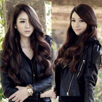 Harga Wanita Dark Brown Panjang Rambut Penuh Wig Keriting Bergelombang Wig Cosplay Kostum Murah
