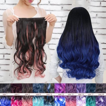 Detail Gambar Produk Wanita Long Curly bergelombang sopak wig dengan rambut  klip Terbaru 98cedbc821
