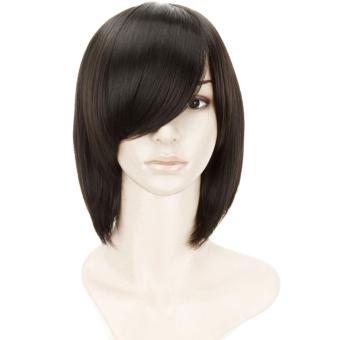 Harga Wanita lurus pendek Bob rambut Wig untuk Halloween kostum Cosplaypesta Natal hitam Murah