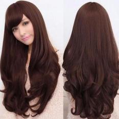Wanita Panjang Rambut Bergelombang Keriting Penuh Wig Dark Brown-Intl 35135f11b1