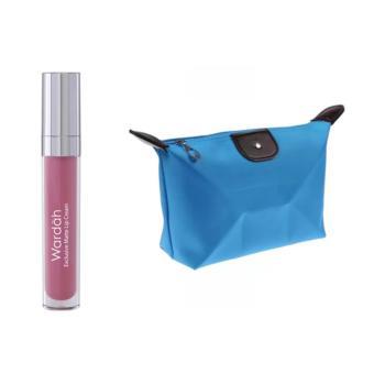 Wardah Exclusive Matte Lip Cream 04 Pink Me Free Alisha Tas Kosmetik Mini - Biru Muda