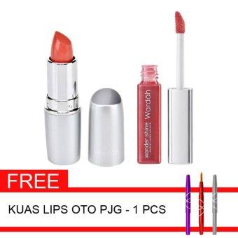 Wardah Paket Lips G - Matte Lips 01 + Wonder Shine 03 & GratisKuas Lips OTO
