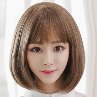 Wobble Wanita BOBO Kepala Rambut Lurus Pendek Air Bangs Wig (coklat  Muda)-Intl edb28276b4