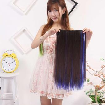 Wanita Panjang Lurus Rambut Klip Sopak Wig Tinggi Tempreture Sintetis Rambut  Ekstensi 8c41e1e80d