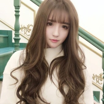 Women's Long Curly Wig With Big Bangs Long Hairpiece Wavy Hair Full Wigs Party Costume Cosplay - Brown - intl