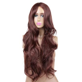 Women's Hair Cosplay Party Wigs Dark Brown Long Curly Bangs Full Wig
