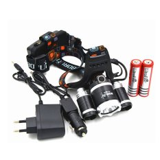 5000Lm CREE XML T6+2R2 LED Headlight Headlamp Head Lamp Light 4-mode torch +2x18650 battery+EU/US Car charger for fishing Lights (Intl)