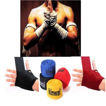 ... 1 Pasang Kick Boxing Balut Perban Tangan Mma Sarung Pelatihan Tinju Tangan Perlindungan Hitam - 5
