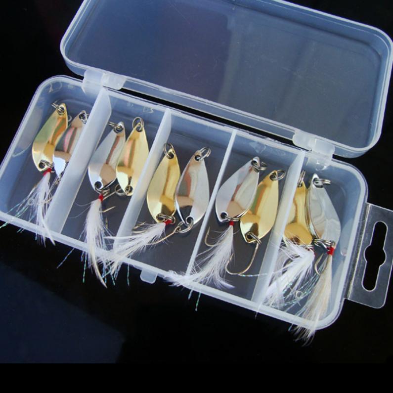 10 buah pemintal umpan penangkapan ikan Kit kait single payet logam keras umpan .