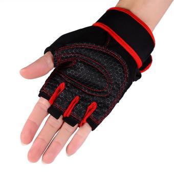 2 buah angkat berat kebugaran olahraga sarung tangan latihan(merah/L) - International
