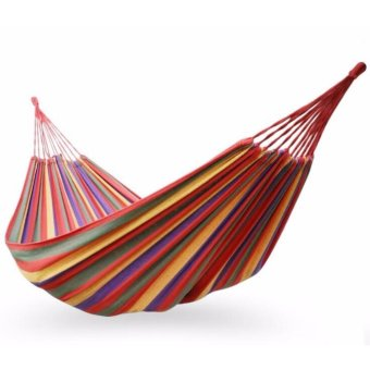 2Cool 200*150cm Camping Hammock Dual-people Canvas Camping LoungeIndoor Hammocks for Holiday - intl