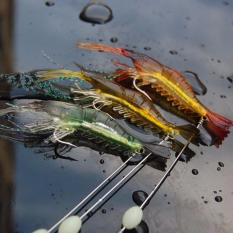 3 Buah Umpan Udang Buatan Bercahaya Lembut Kait Penangkap Ikan - Umpan 10 cm 6G - Internasional