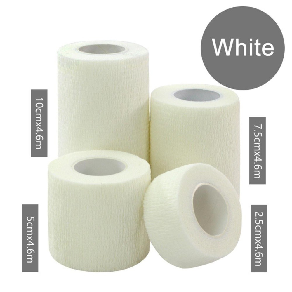 3Rolls Waterproof Bandage Gauze Wraps Elastic Adhesive First Aid Tape Stretch White L - intl
