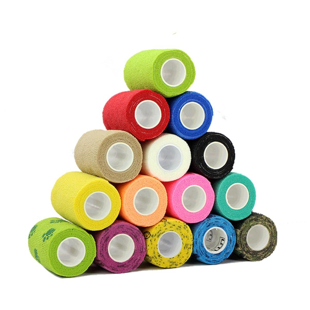 3Rolls Waterproof Bandage Gauze Wraps Elastic Adhesive First Aid Tape Stretch Yellow smile S - intl