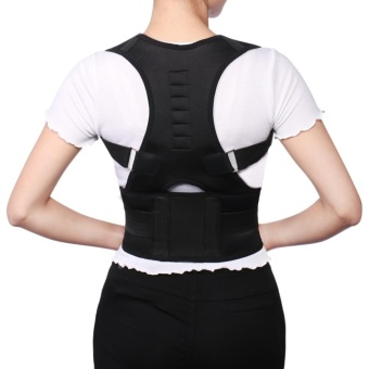 Adjustable Posture Corrector Magnetic Position Correction Brace Support Back Belt (M)(Black) - intl