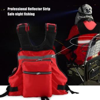 Orang Dewasa Lifesaving Vest Life Jacket With Whistle Swimming Fishing Drift Suit (Merah)-