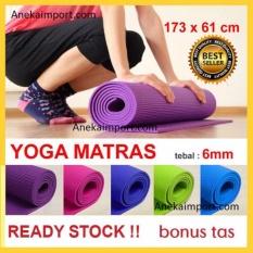Anekaimportdotcom Matras Yoga, Yoga Mat, Matras Yoga Murah (Gratis Tas) 6mm - Biru