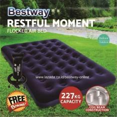 Bestway Kasur Angin Double Biru (191 x 137cm) + Bestway Pompa Angin  Kasur Tiup - Kasur Udara Bestway 67002