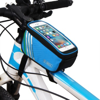 "Bicycle Top Tube Phone Bag for 4.8"" Screen Size Bike Frame StrapAttachment Mount Red Color:blue - intl"