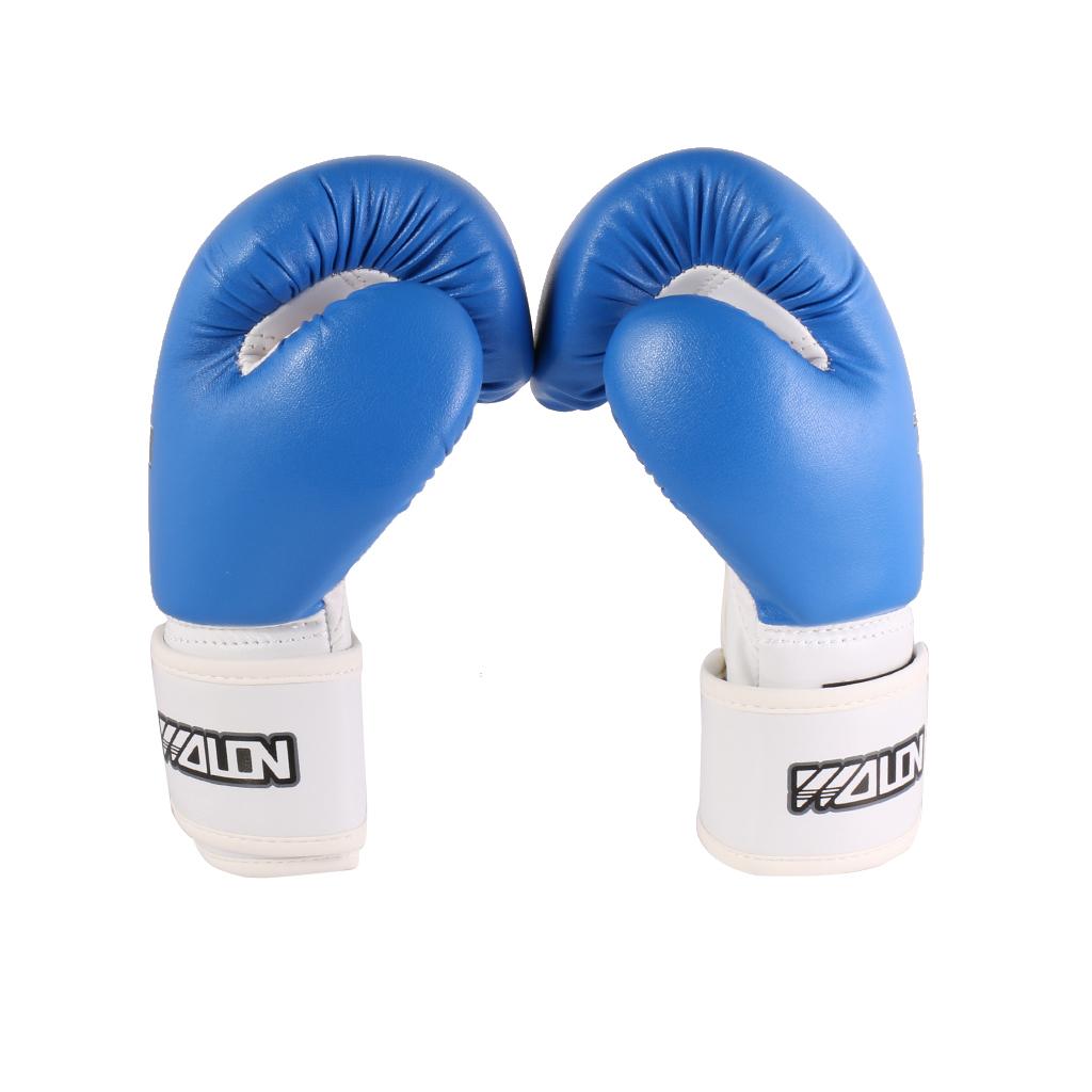 ... BolehDeals Anak PU Kulit Kick Boxing MMA Pelatihan Tinju MeninjuTas Sarung Tangan-Biru ...