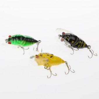 BolehDeals Jangkrik Serangga Umpan Pancing Ikan Kecil TenggelamBass Mengatasi Umpan Kail 3 Hook - 2